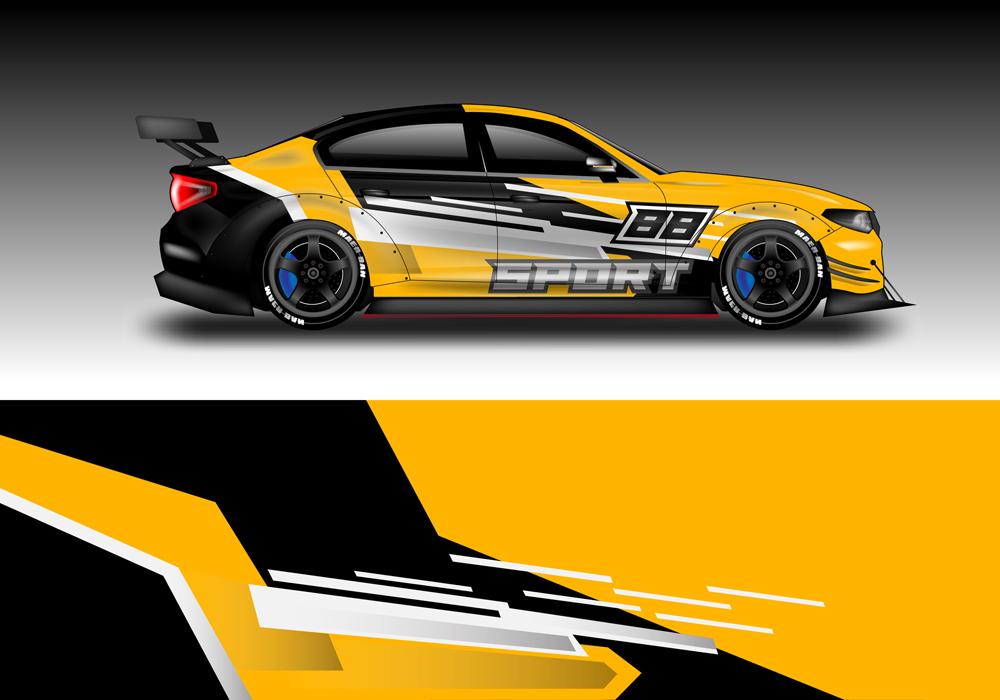 Car wrap design vector
